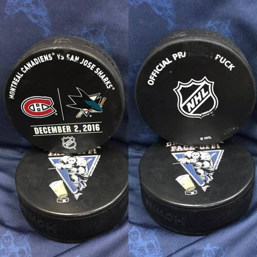 2016 San Jose Sharks vs Montreal Canadiens Official Used Warm Up Puck. 12-2-2016.