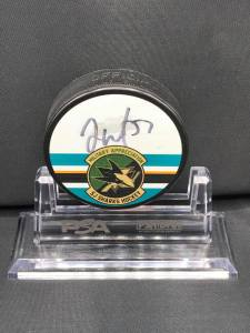 2015-16 San Jose Sharks Foundation Limited Edition Military Appreciation Puck.  #57 Tommy Wingels.