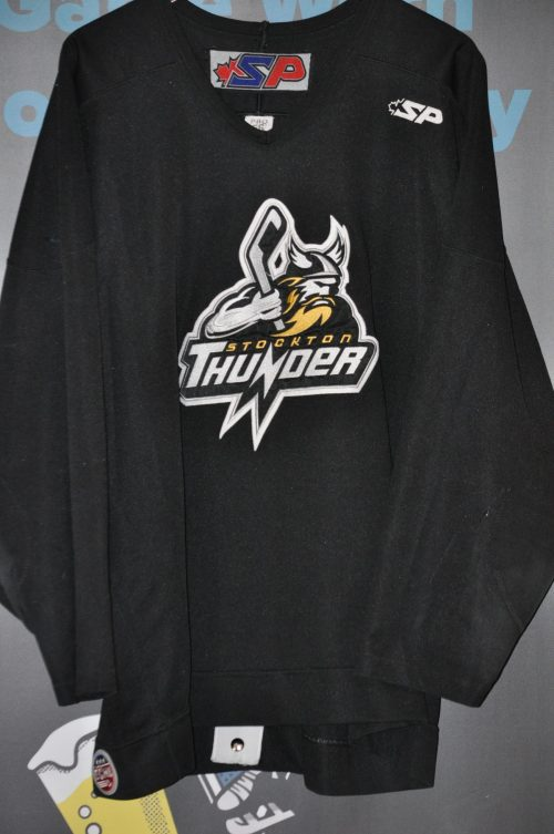 ECHL Stockton Thunder. #4 Player unknown. Black Size 56. SP Brand. Sewn on crest logo  and numbers. Obtained from team sale.