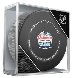 2021 Official Lake Tahoe Outdoor Games Official Game Puck in case. Colorado Avalanche vs Vegas Golden Knights. February 20 Colorado Avalanche vs Vegas Golden Knights.