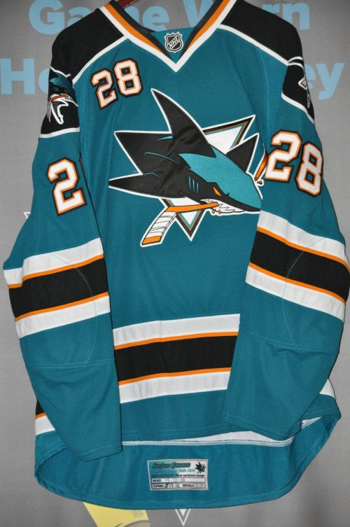 2009-10 San Jose Sharks. #28 Jay Leach. Teal Playoff set. Size 58 + Reebok. Obtained from team.