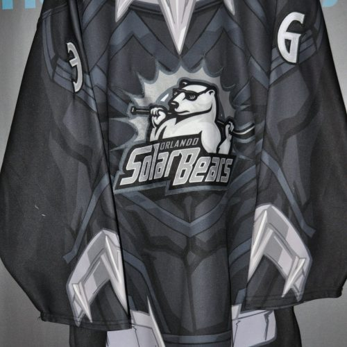 2018-19 ECHL Orlando Solar Bears. #36 Alex Schoenborn Marvel Black Panther Night Jersey. ECHL OT Size 56. Autographed on number. Obtained from MeiGray Group.