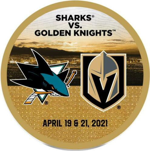 2021 San Jose Sharks vs Golden Knights . April 19 2021 record breaking match up puck.Patrick Marleau 1768 game. Record breaking match up puck of breaking Gordie Howe game played record of 1767. April 21 2021 Patrick Marleau 900 straight games played. Limited edition of 200. Obtained from team.