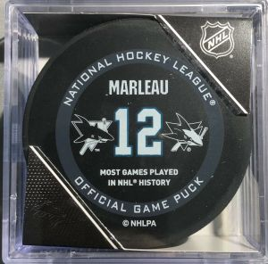 """Official National League Patrick Marleau Most Games in NHL History Puck with Case. """"Not Game Used"""""""