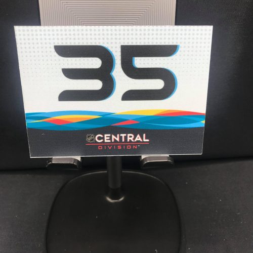 2019 San Jose All-Star Game Stick rack number plates. Central Division #35 Pekka Rinne. These are the plates that the equipment managers used on the rack during all-star game for players sticks. Velcro on back.