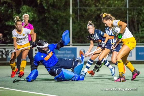 27-09-2019: Hockey: Vrouwen HDM v Den Bosch: Den Haag Hockey Livera Hoofdklasse 2019 (L-R) Julia Remmerswaal (Keeper hdm #1) en Frédérique Matla (Den Bosch #15)