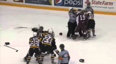 Two Line Brawls During Kingston vs Peterborough Game 3-25-14