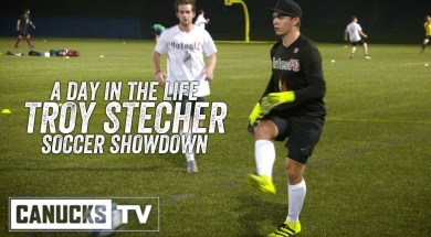 Stecher Plays Goalie in Soccer Showdown