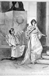 Hypatia at the Haymarket theatre. Philammon declaring his love for Hypatia'. Print from the first page of The Graphic, 21 January 1893.