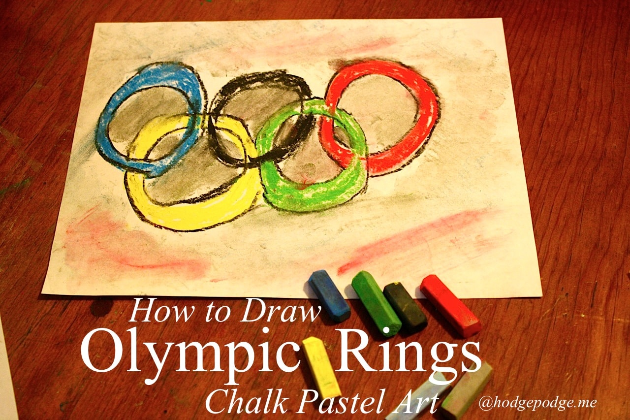 Olympic Rings Chalk Pastel Art