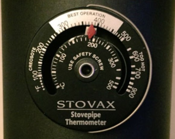 Stove pipe thermometer, used to check the optimum burning of your wood fuel