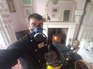 Thorough chimney sweep and service of a Scan Anderson 4/5 multifuel stove by Danny Hodgson of Hodgsons Chimney Sweeps Exeter