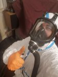 Mr danny hodgson in full PPE for a Chemical Creosote Removal job