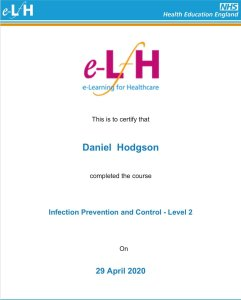 Mr Daniel Hodgson. Chimney sweep in exeter Level 2 qualified by the NHS in Infection, Prevention and control
