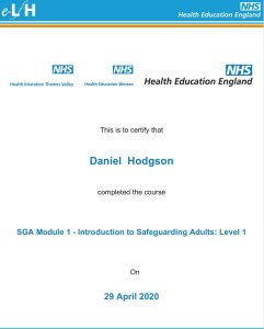 Mr Daniel Hodgson. Chimney sweep in Torbay Level 1 qualified by the NHS in safeguarding of adults
