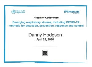 Mr Danny Hodgson, chimney sweep in Torbay qualified in infection control by the WHO