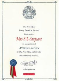 Mrs Sargeant 40 Years Service