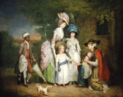 1781 William Redmore Bigg English A Lady and Her Children Relieving a Cottager