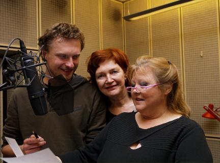 Stefan Kaminski als Erzähler/Johnny, Regisseurin Andrea Getto und Franziska Troegner als Maria in