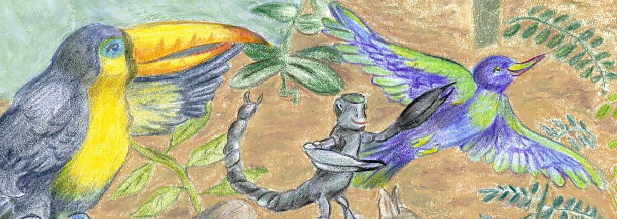 How the Amazon River Came to Be. Oil pastel and colored pencil illustration.