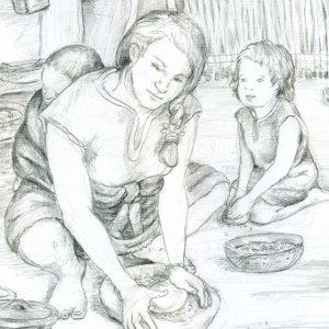 neolithic mother with infant and toddler