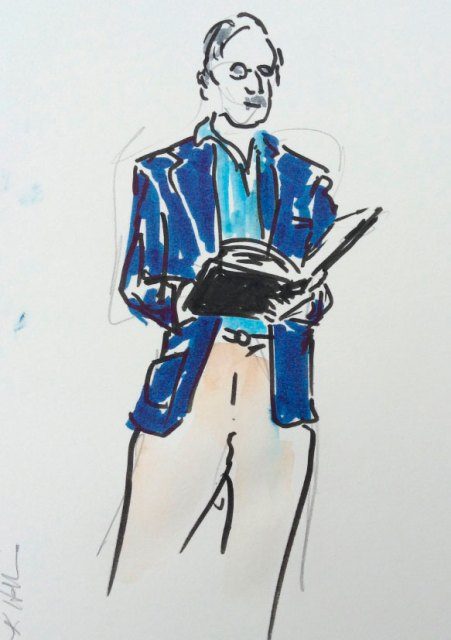 Illustrated reading gentleman