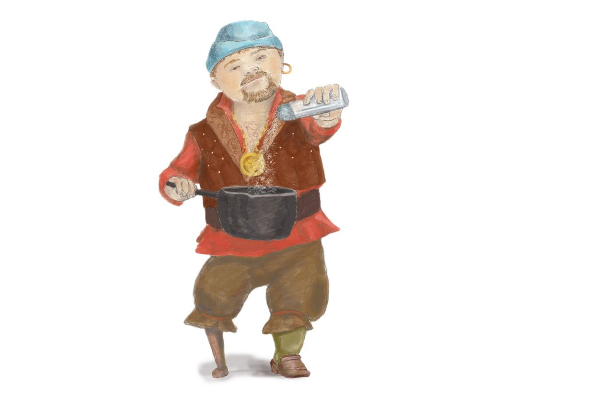 Smuetje is the ship's cook and the most important person on board. My little Smuetje, which is Northern German meaning 'ship's cook', has a wooden peg leg and is holding a heavy iron pot. He is sprinkling salt into the pot with a salt shaker.