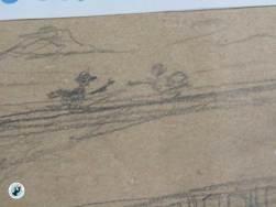 Was aussieht wie ein paar Striche wird später ein Rabenritterfest. Grobentwurf, Bleistift auf Packpapier