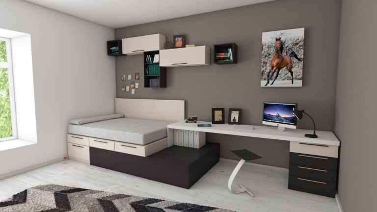 apartment bed bedroom book shelves