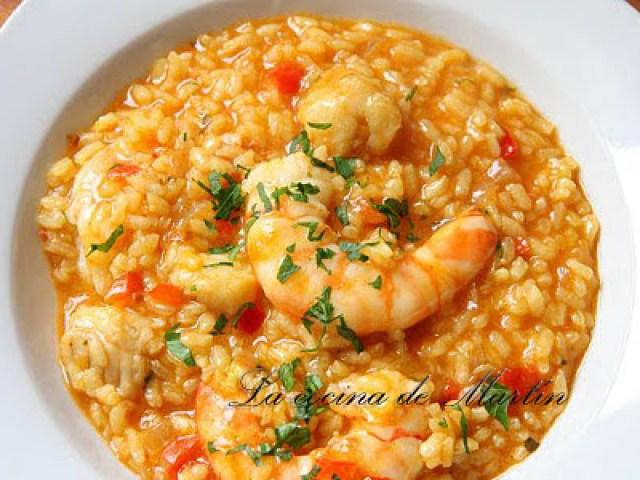 arroz caldoso con rape y langostinos