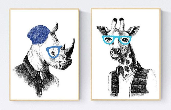 Posters and paintings of animals.
