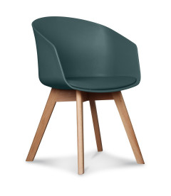 chaise scandinave bleu petrole coussin