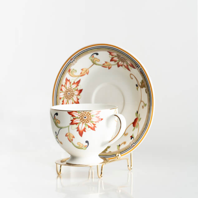 cup and saucer display stand holder teacup rack gold 6pcs