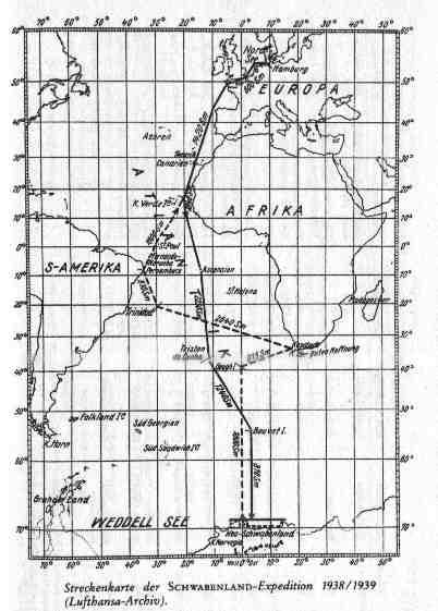 Wegkarte Deutsche Antarktis Expedition 1938 / 39