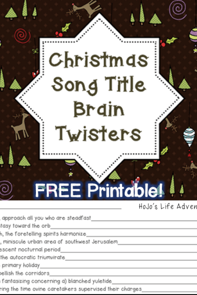 FREE Song Title Printable Brain Teaser Game for the Holidays