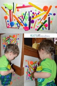 """Are you on the lookout for some cheap, easy toddler fun? This easy """"stick em"""" game is a hit! Grab some press & seal wrap and some light things to stick to it. Put the press and seal up with packaging tape, and your toddler will be set for hours!"""
