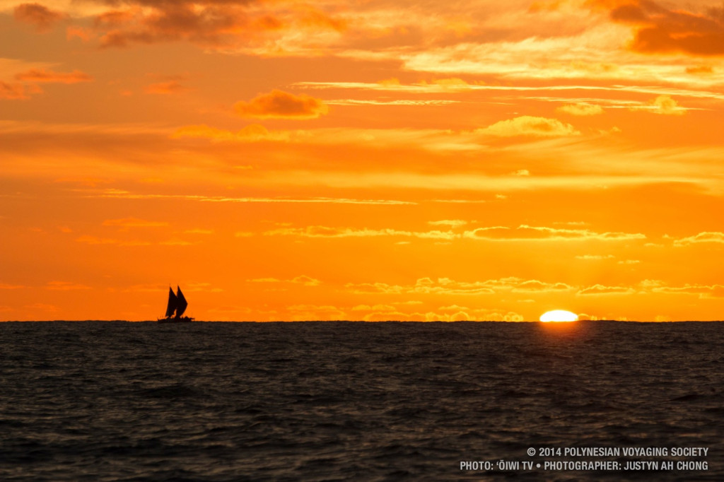 Hokulea at sunset