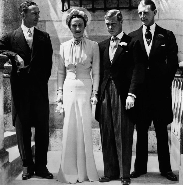 Wallis Simpson photographed with former king Edward on their wedding day. She was a real feminist, unlike some contemporary feminists who pay lip service to the idea, mistakenly thinking that a strong woman is angry. Faux feminists wouldn't recognise an actual feminist if one stomped on them