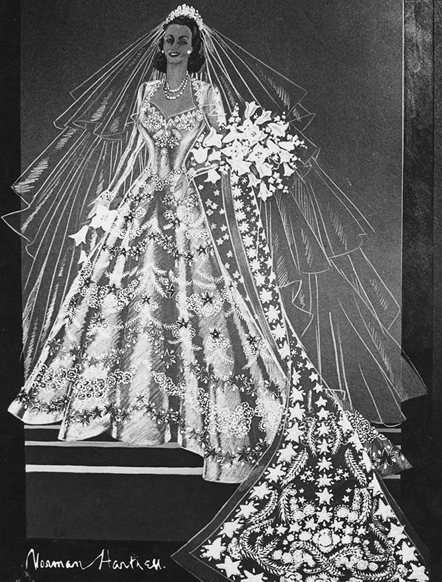 Sketch of the dress of Queen Elizabeth II