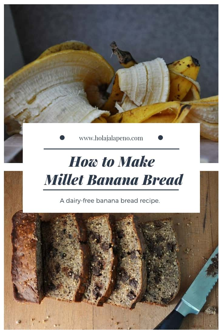 A healthy, dairy-free banana bread recipe with the addictive crunch of millet seed and loads of melty chocolate chips. #bananabread #dairyfreebananabread #healthybananabread #millet