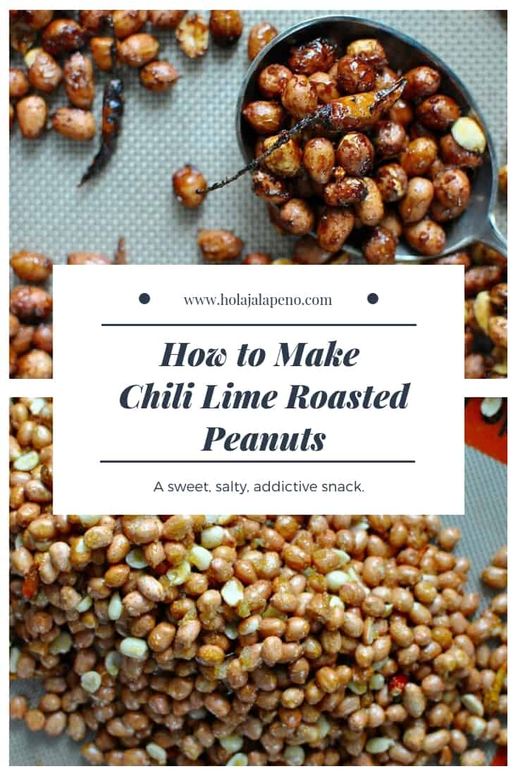 These chili lime roasted peanuts are tossed in an addictive mixture of chili, fresh lime zest, turbinado sugar, and salt then roasted to a golden brown. #Mexicanpeanuts #roastednuts #chilipeanuts #veganpeanuts #healthyMexican