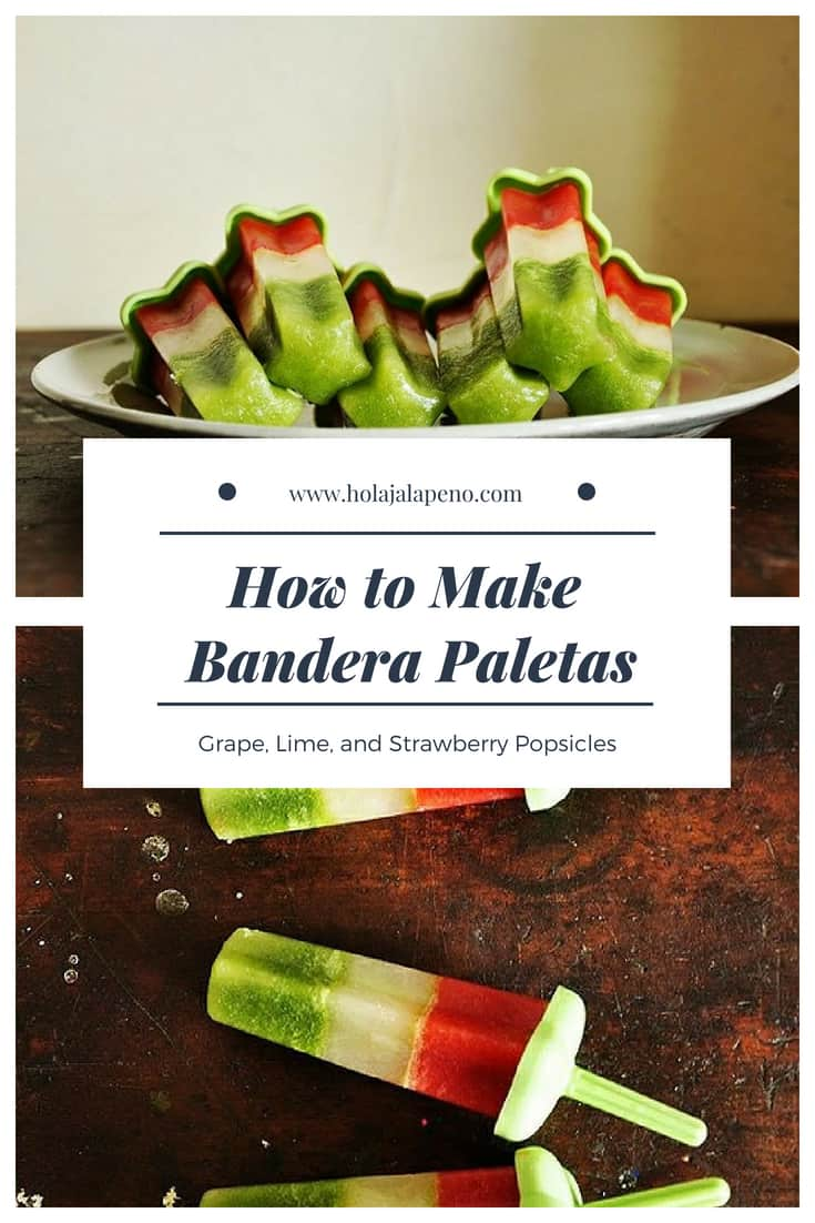 Mexican Bandera Paletas deliciously represent the colors of the flag with fresh squeezed fruit and vegetable juices for a heatlhy treat. Fresh grape, lime, and strawberry juices make up the colors along with a little baby kale for color and nutrients and honey for sweetness. #popsicles #paletas #healthyMexicanfood #CincodeMayo #StrawberryPopsicles