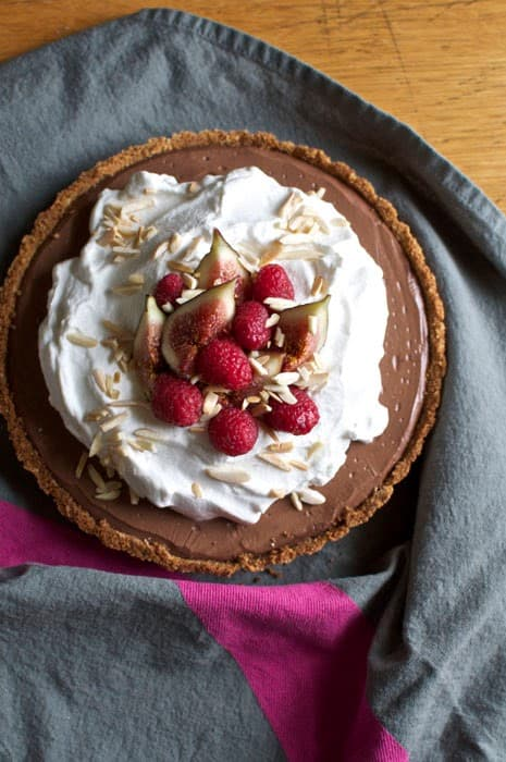 Mexican Chocolate-Tequila Tart with Saltine and Graham cracker Crust
