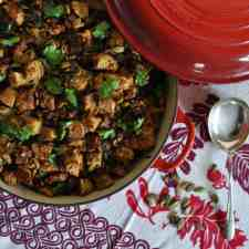 This Spicy Chorizo and Poblano Stuffing has everything we love about traditional Thanksgiving stuffing with festive touches of charred poblanos and chorizo.