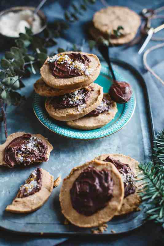 Crumbly Peanut Butter Cookies with Chocolate Ganache and Banana Sugar from Artful Desperado
