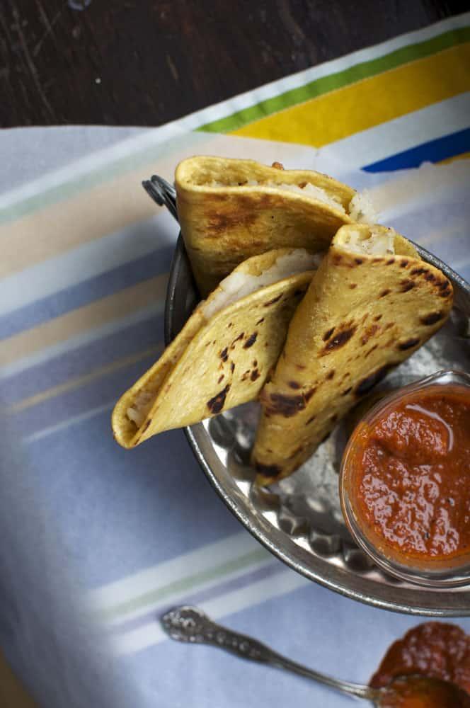 Potato Tacos with Guajillo-Orange Salsa {Dairy Free, Gluten Free}