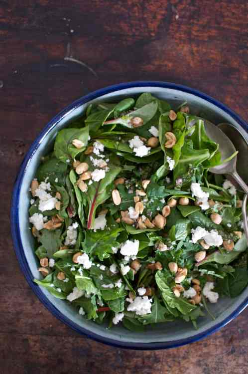 Kale Salad with Peanuts and Queso Fresco