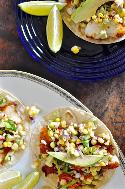Grilled fish tacos with sweet corn salsa hola jalape o for Grilled fish taco recipe