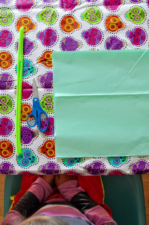 Piece of tissue paper on a Calavera tablecloth with scissors and pipe cleaner.