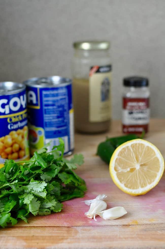 Ingredients for Cilantro Hummus